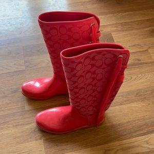 COACH Tristee Rainboots, sz 9,  pink, euc